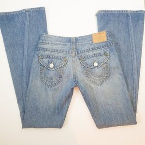 True Religion Flare Jeans Raw Hem Detailing